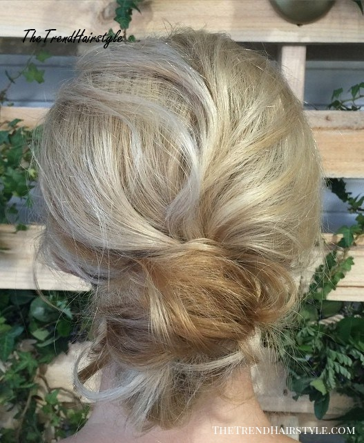 Low Messy Blonde Updo