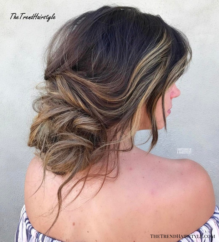 Low Messy Updo For Long Hair