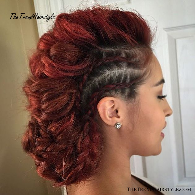 Low Mohawk Updo With Messy Braids