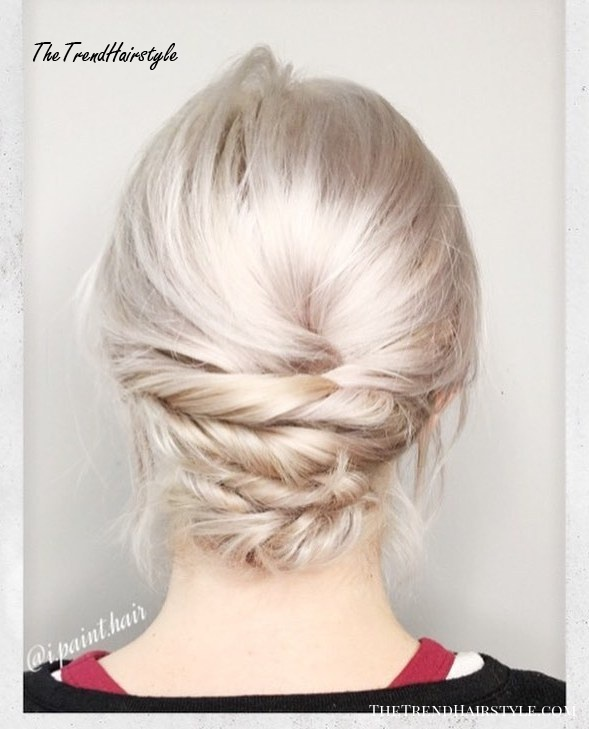 Low Twisted Updo For Thin Hair