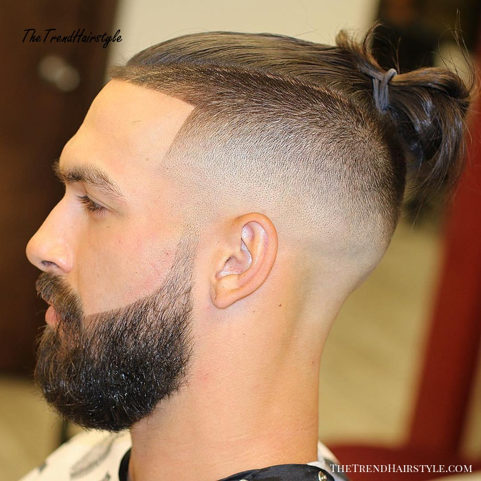 Man Bun With Beard And Shaved Sides