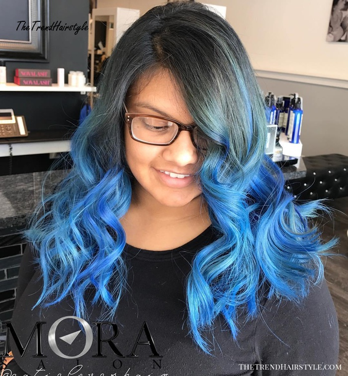 Medium Black And Blue Ombre Hair