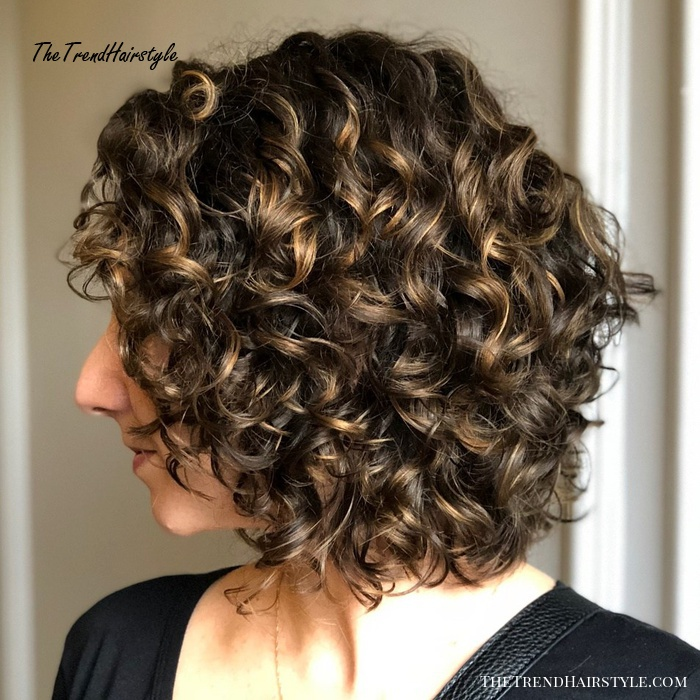 Medium Curly Brown Hairstyle With Highlights