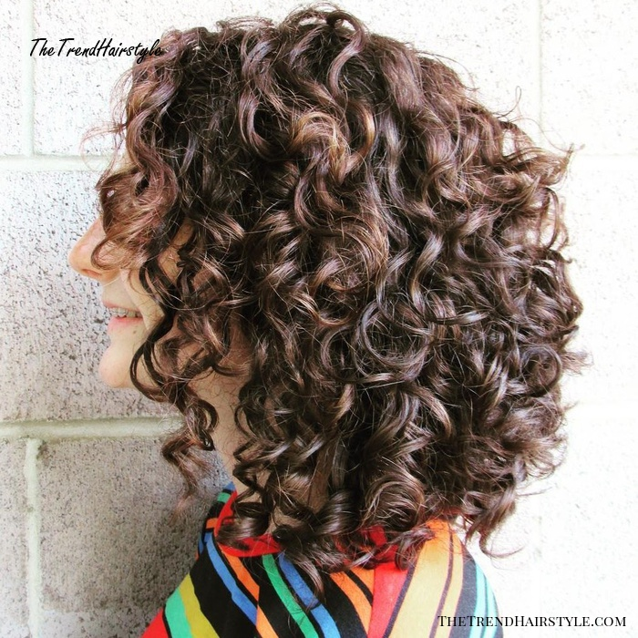 Medium Curly Brown Hairstyle with Subtle Highlights