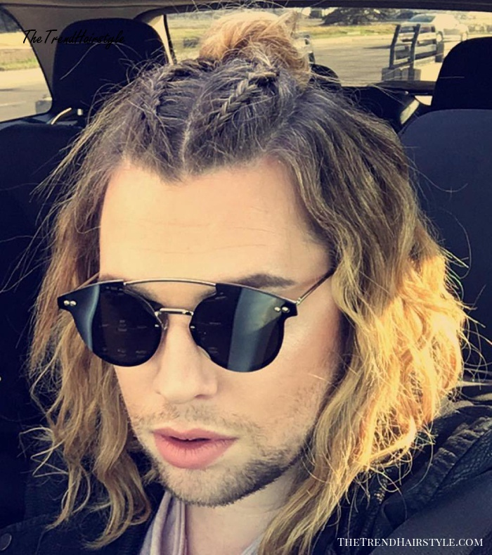 Medium Hairstyle With Braids For Guys