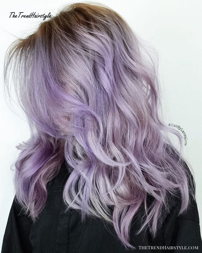 Medium Layered Pastel Purple Hair