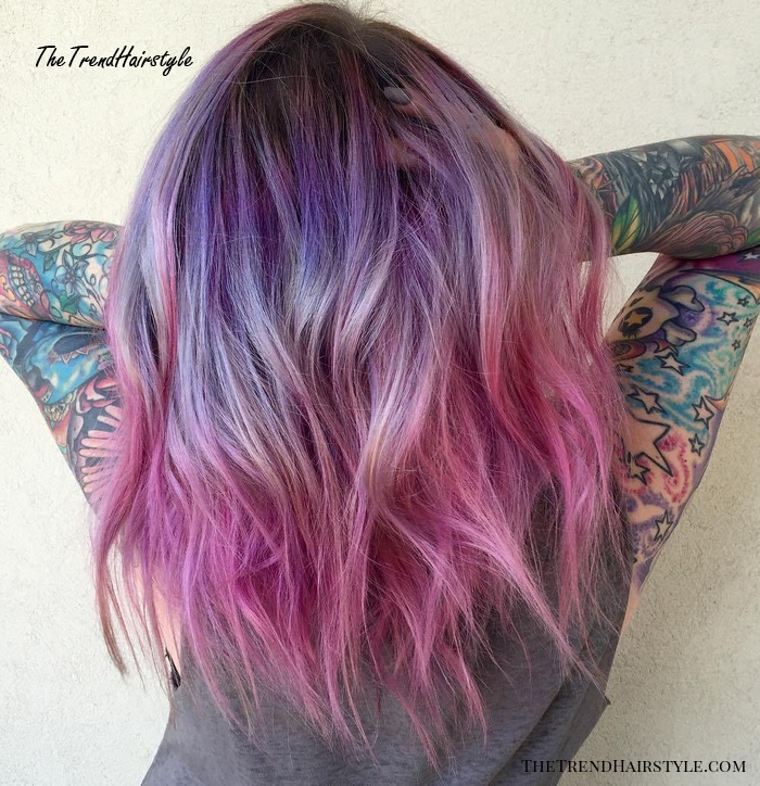 Medium Length Purple To Pink Ombre Hair