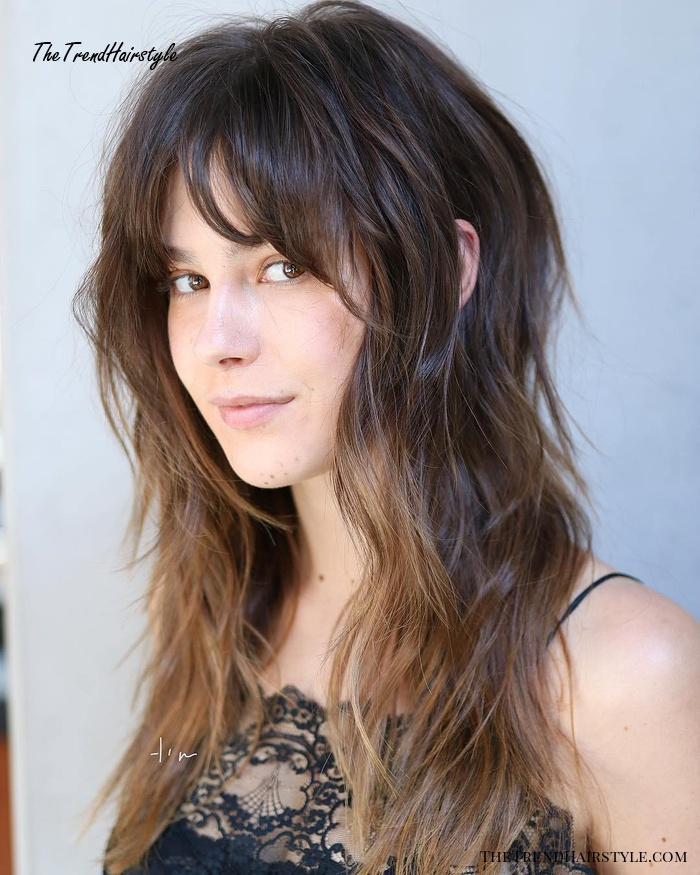 Medium-To-Long Shag With Bangs For Fine Hair