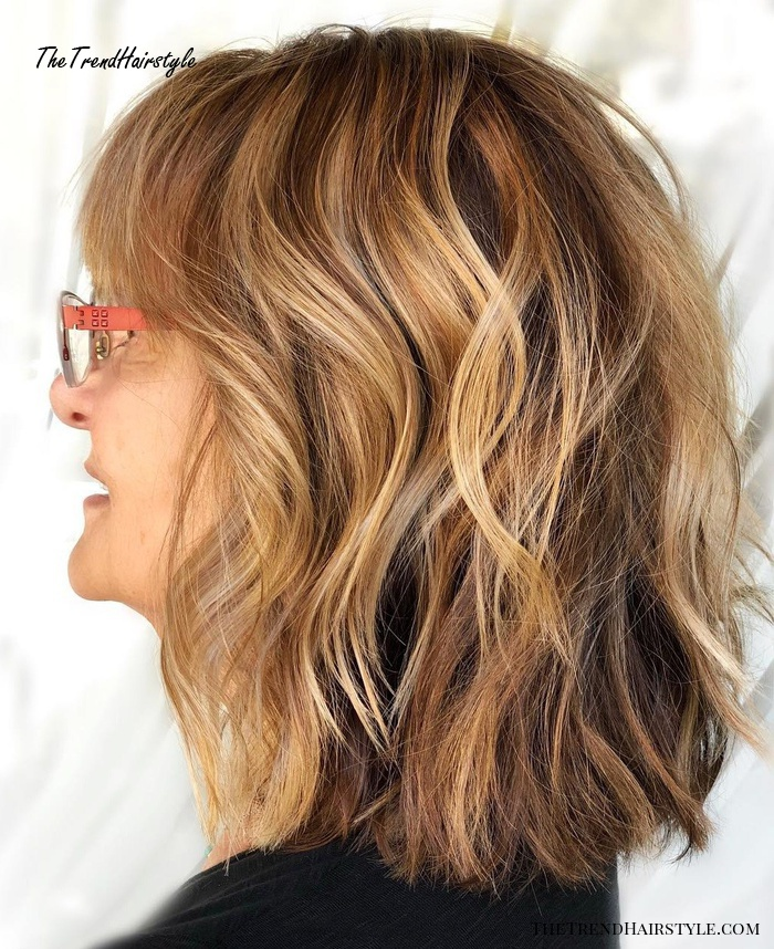 Medium Wavy Hairstyle For Thick Hair Over 50