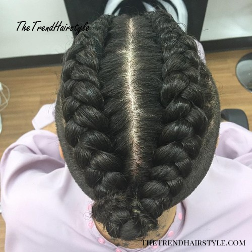 Men's Two Top Braids Hairstyle