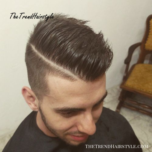 Mens undercut hairstyle with a side part