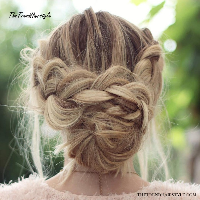 Messy Crown Braid With Low Bun