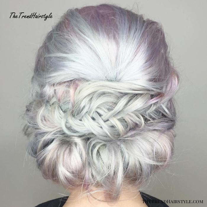 Messy Low Roll And Braid Updo