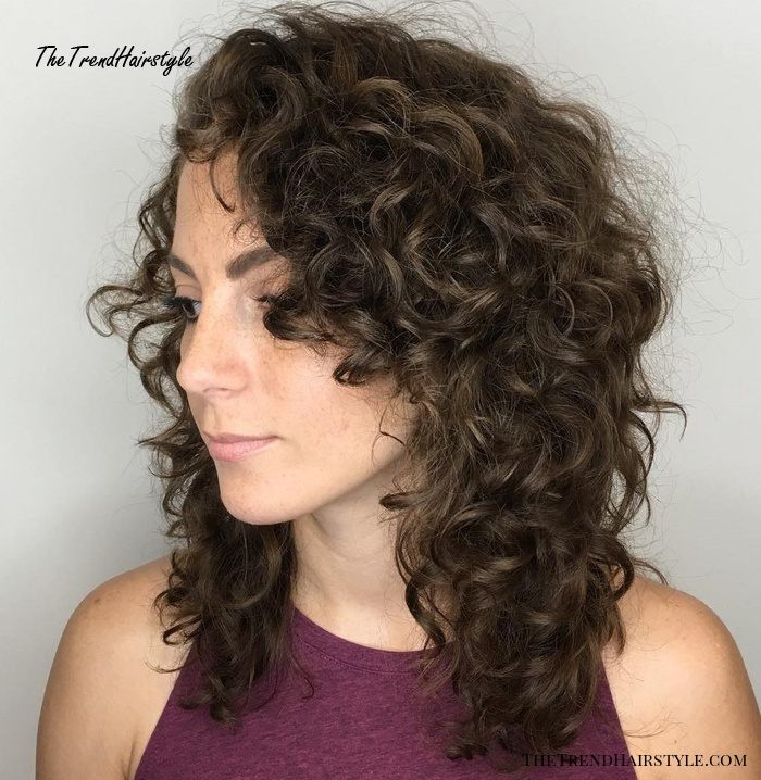Mid-Length Layered Cut for Curly Hair