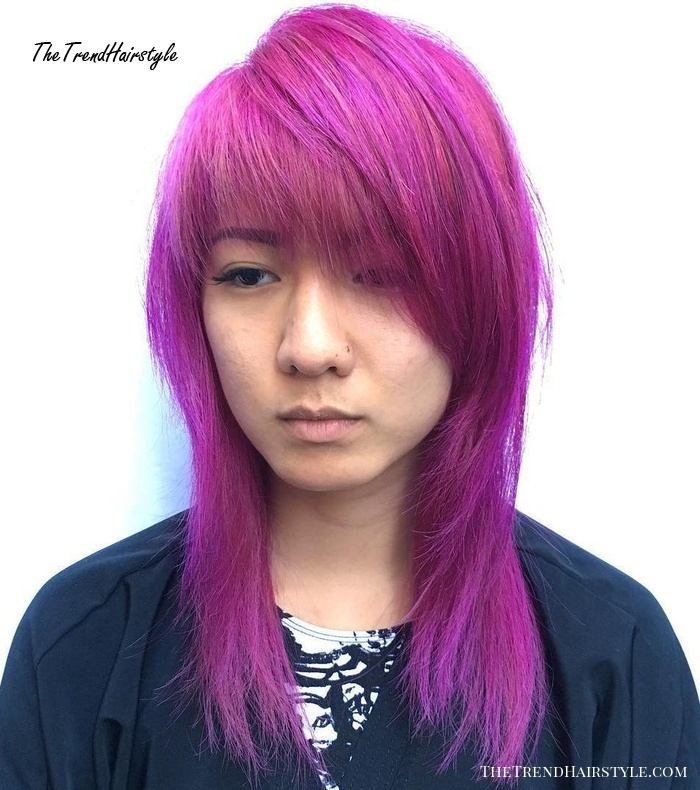 Mid-Length Magenta Hairstyle With Side Bangs