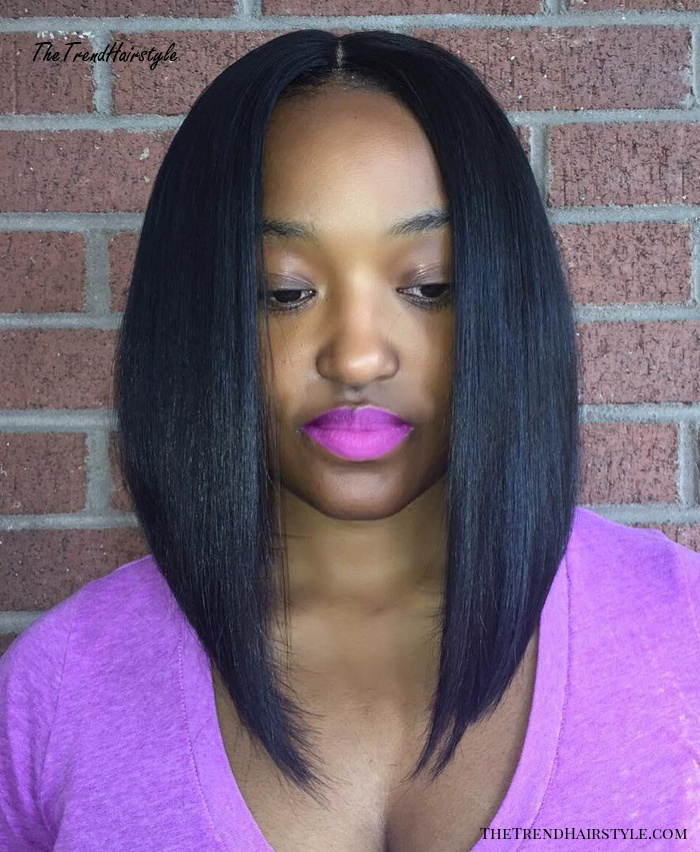 Middle Part Angled Lob Sew In