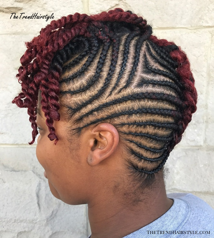 Mohawk Braid with Cornrows and Top Twists