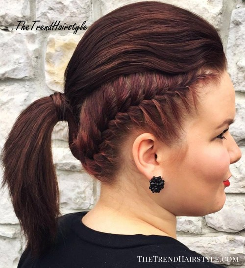 Mohawk Inspired Ponytail With Braid