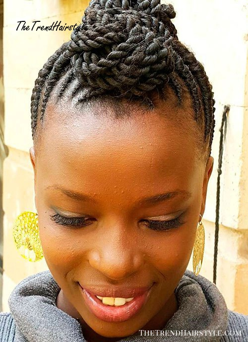 Mohawk Updo With Flat Twists
