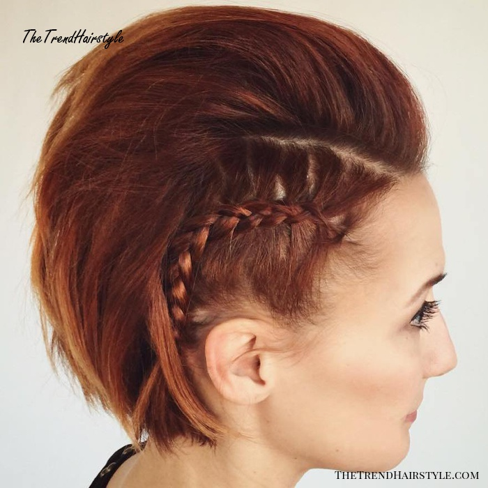 Mohawk With Side Braids For Bob
