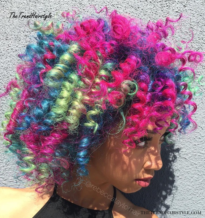 Multi-Colored Natural Curly Hairstyle