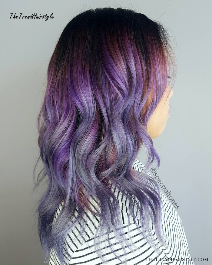 Multi-Colored Purple Balayage Hair