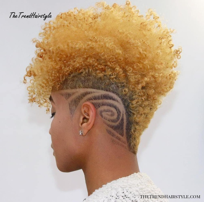 Natural Blonde Mohawk with Shaved Design