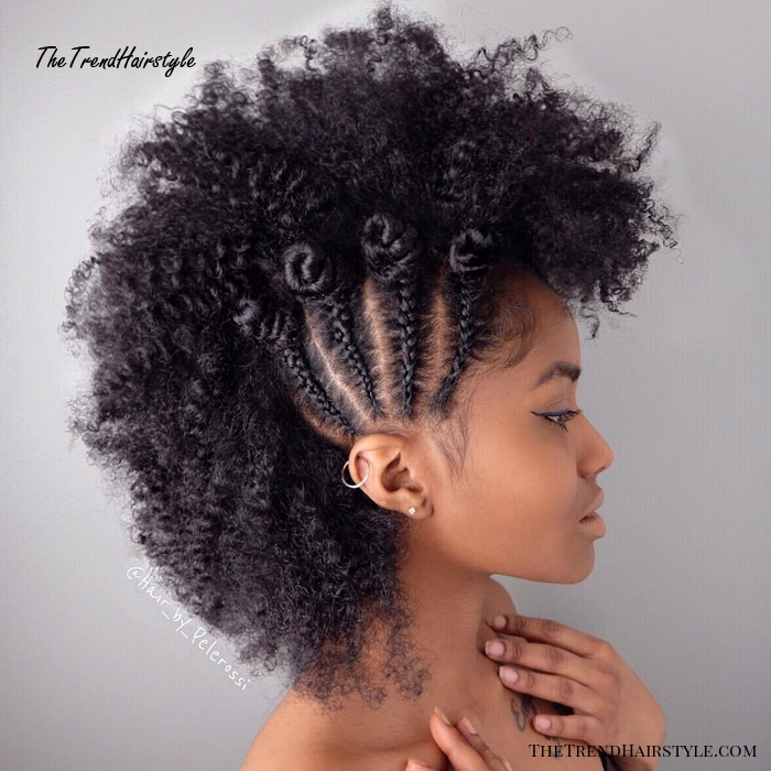 Natural Curly Mohawk Updo