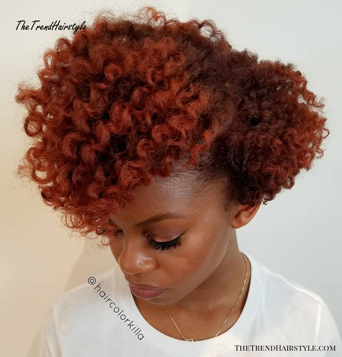 Natural Red Curly Hairstyle For Short Hair