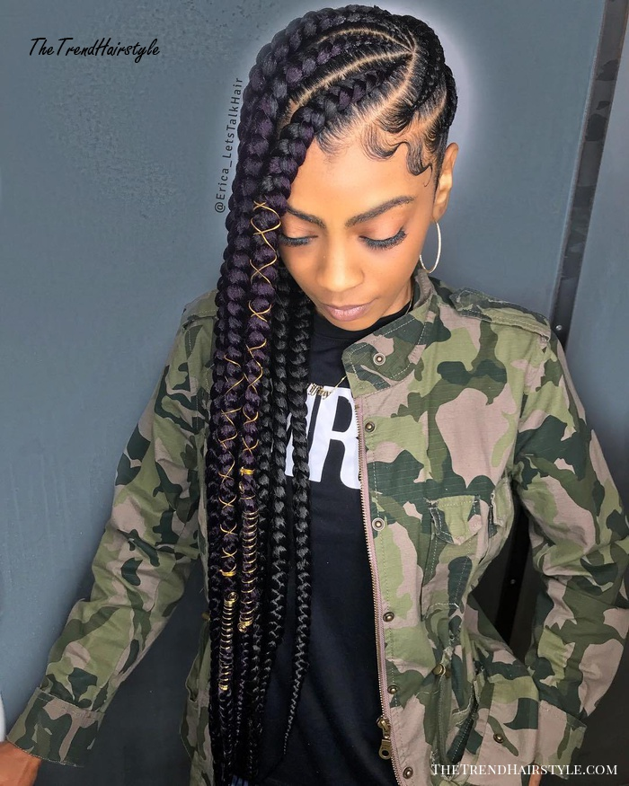 One Sided Cornrows With Purple Extensions