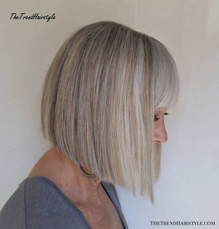 Over Blunt Angled Bob With Bangs