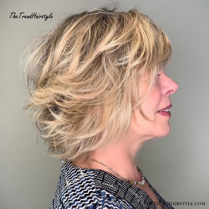 Over Cute Feathered Chin-Length Bob