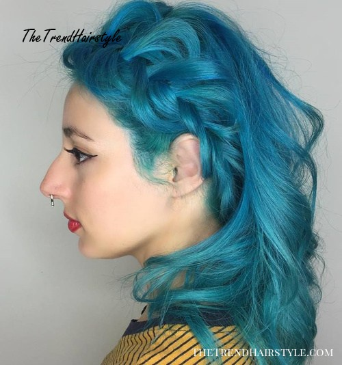 Pastel Blue Braided Hairstyle
