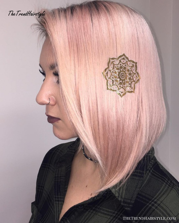 Pastel Pink Hair With Hair Tattoo