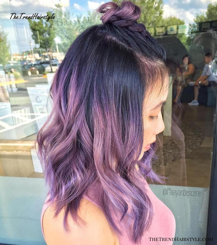 Pastel Purple Hair With Black Roots