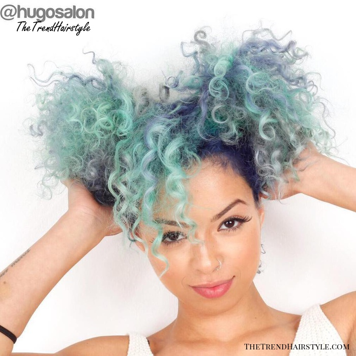 Pastel Teal Natural Hair With Blue Roots