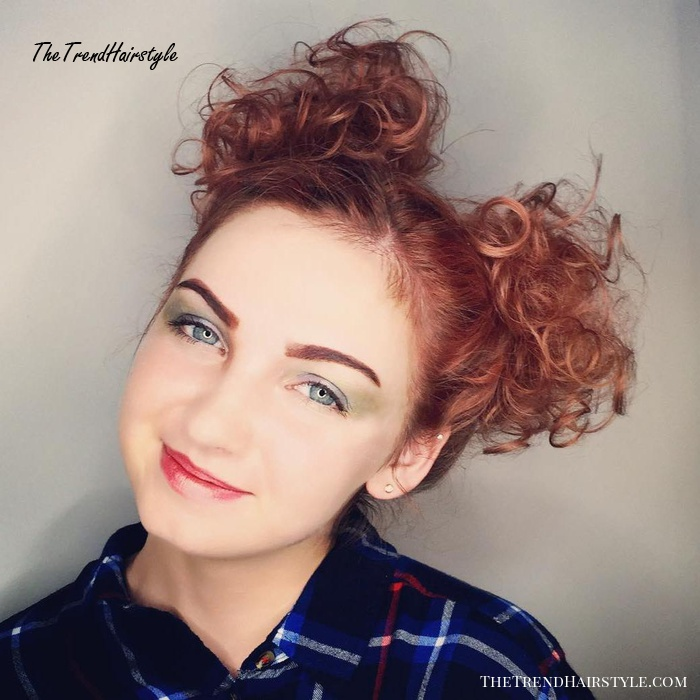 Pigtail Buns For Short Curly Hair
