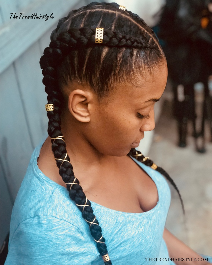 Pigtails With Goddess Braids