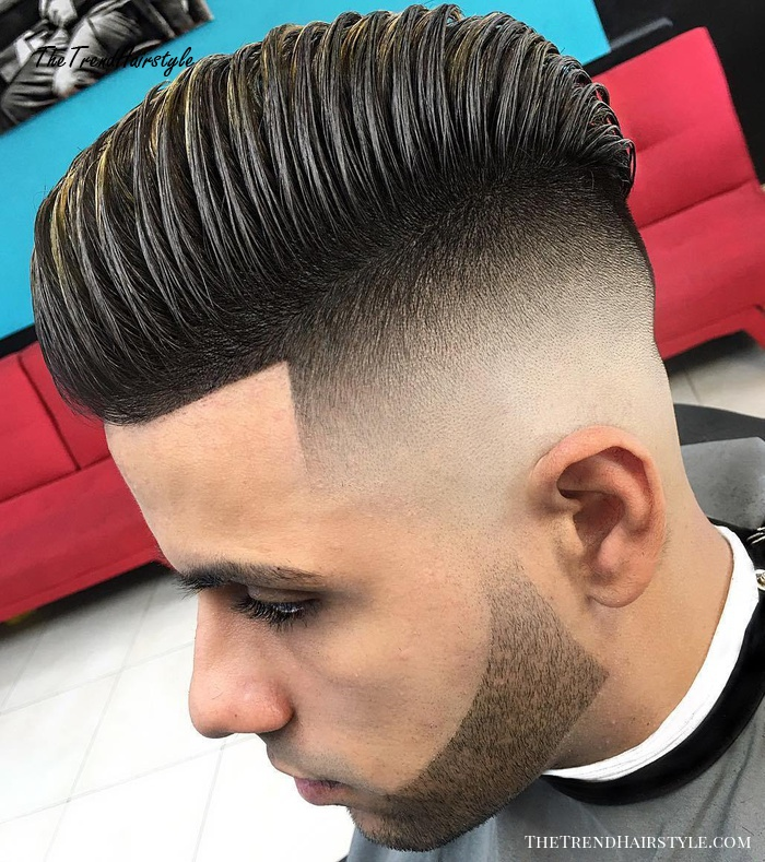 Pompadour With High Fade And Line Up