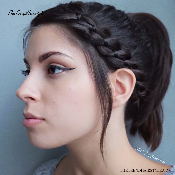 Ponytail With A Side Ribbon Braid