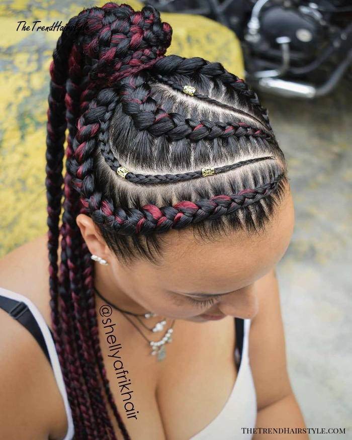 Ponytail With Burgundy Highlighted Braids
