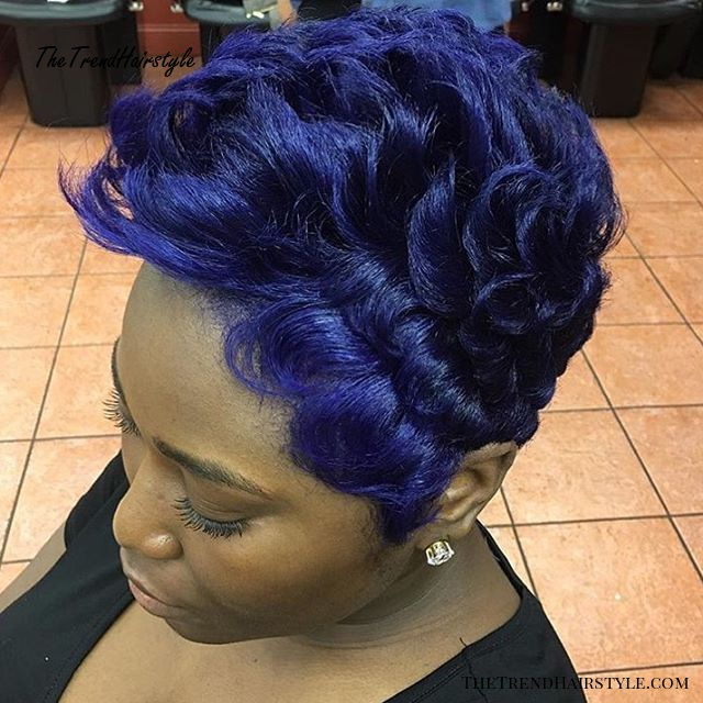 Purple Blue Pixie For Black Women