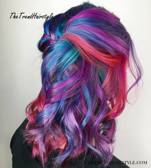 Purple, Red And Blue Pastel Hair