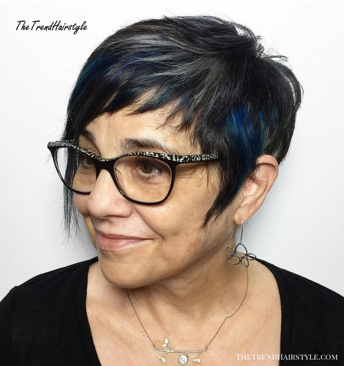 Razored Pixie With Blue Highlights