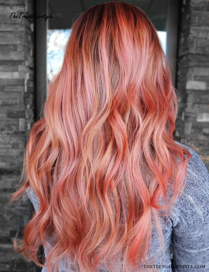 Red And Pastel Pink Balayage Hair