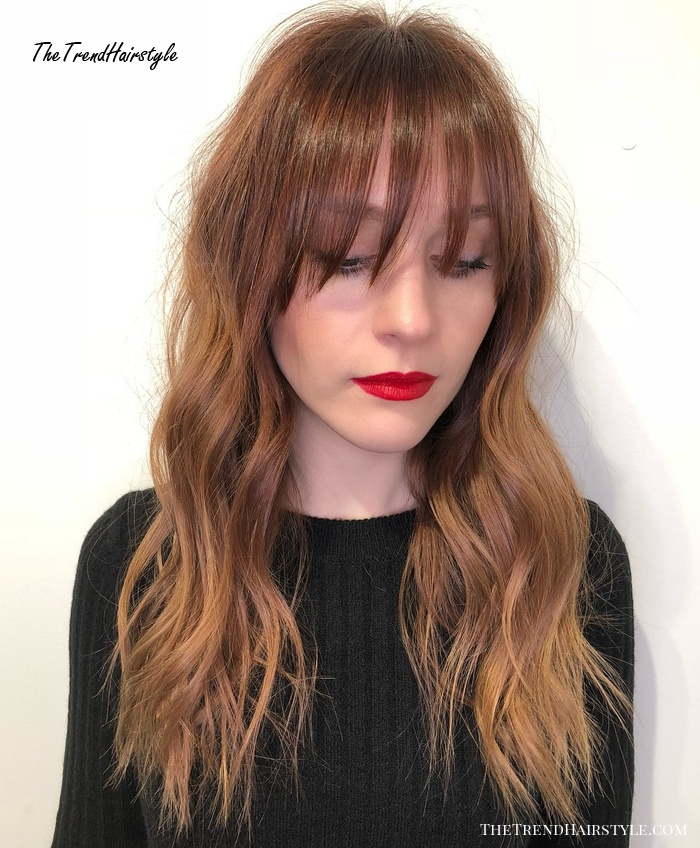 Red Balayage Shag With Bangs For Long Hair