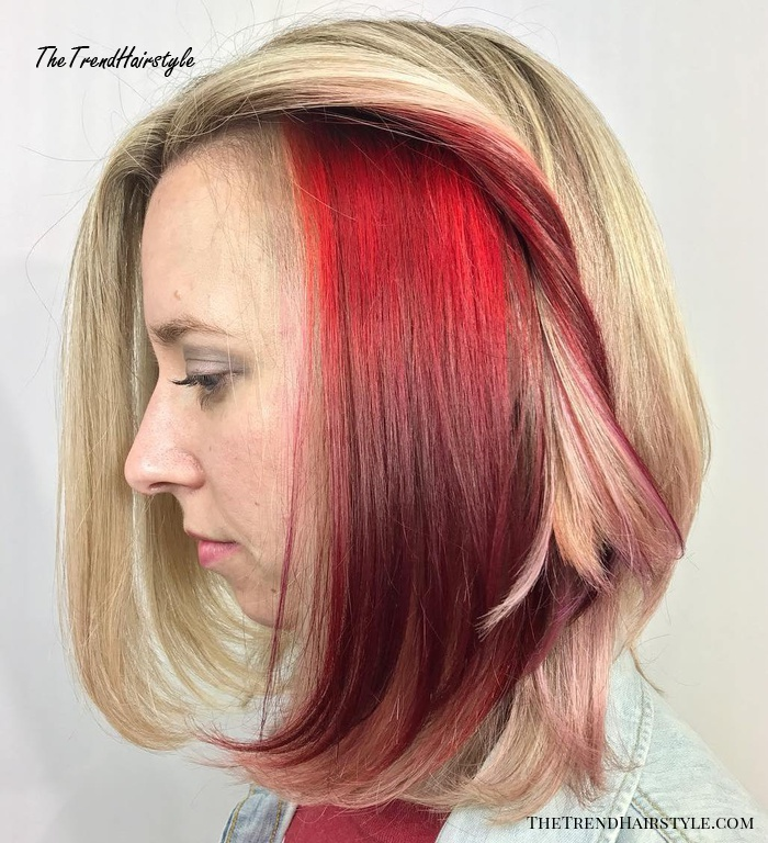 Red Peek-A-Boos For Blonde Lob