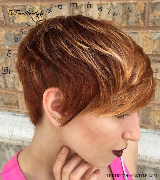 Red Pixie With Blonde Highlights
