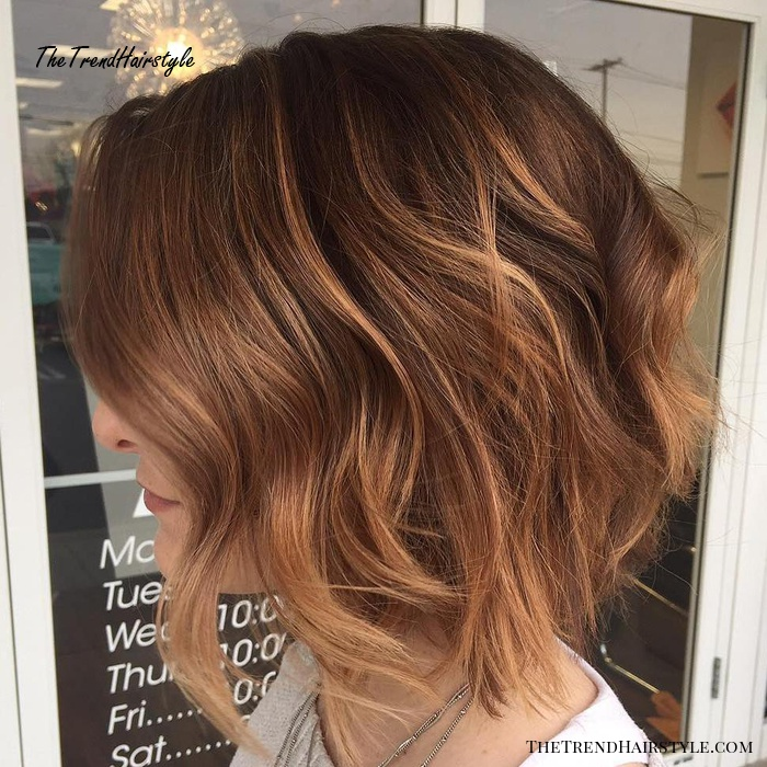 Reddish Brown Wavy Bob With Highlights