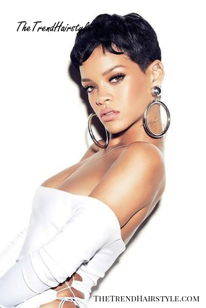 Rihanna extra short hairstyle with waves
